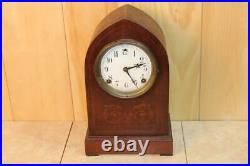 Antique Sessions Beehive Style Mantle Clock With Inlay Concord Model