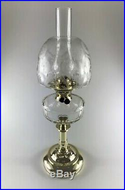 Antique Victorian Brass and Cut Glass Oil Lamp with Acid-etched Beehive Shade