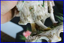 Antique vienna beehive marked lace porcelain figurine couple statue