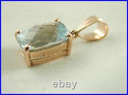 Aquamarine Pendant 3.76 Carats 9 Carat Rose Gold Beehive Facets