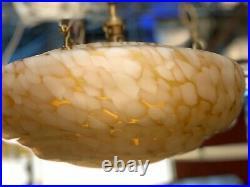 Art Deco 1930's Large Beehive Yellow Light Shade & Original Chain Fixture