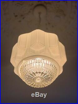 Art Deco 1930's Large Empire Diana Beehive Skyscraper Milk Glass Light Shade