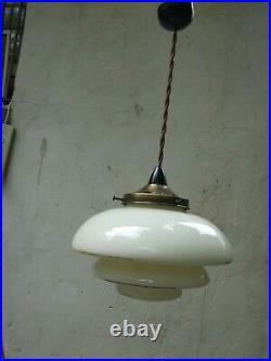 Art Deco Cream Beehive Ceiling Light with Brass Gallery & Bakelite Fittings 30's