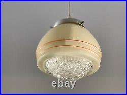 Art Deco Cream & Orange Stripe Diana Empire UFO Beehive Shade 1930s Original
