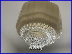 Art Deco Yellow Glass Empire UFO Beehive Shade 1930s Original with Diffuser