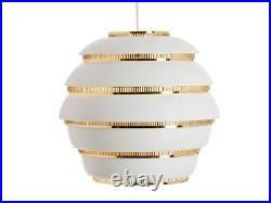 Artek A331 Beehive Pendant Lamp White and Brass