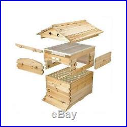 Auto Flow Honey Beehive + 7 Frames Beekeeping Kit Langstroth Wooden Bee Hive Box