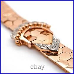BRACELET 14K Rose Gold Fancy Buckle Hexagon Beehive Diamond Accent 7.5 Vintage