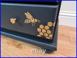 Beautiful Chest of drawers with bees, bee hive, honeycomb and hexagon knobs