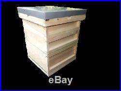 Beehive with Two Supers British National Solid Pine with Open Mesh Floor