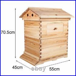 Double Beehive Super Beekeeping Brood House Box +7 Auto Honey Bee Hive Frames UK