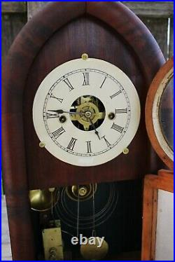 Early American Chauncey Jerome 8 day fusee beehive cased shelf clock