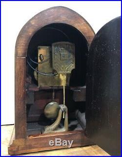 German Junghans Beehive Inlaid Mantel Table Clock