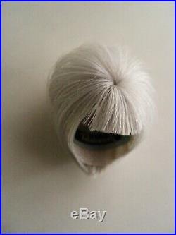 Handmade Beehive human hair Barbie Sylvain Severine size wig in silver white