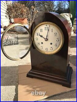 Herschede Flame Mahogany Beehive Time Strike Mantel Clock Refinished New Spring
