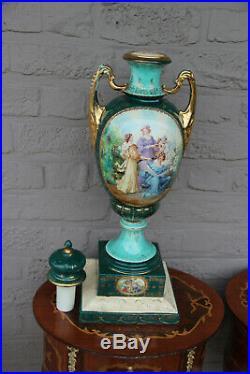 Huge vienna porcelain beehive marked Green porcelain vase romantic scene