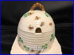 Irish Belleek Porcelain Beehive With Green Shamrocks And Bees- Black Mark