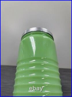 Jeannette Glass Co Dark Jadite / Jadeite / Jade-ite 40oz Coffee Canister Beehive