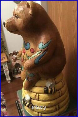 Jim Shore Retired Giant Gabriel Bear Sitting On Beehive 34x16 Beautiful