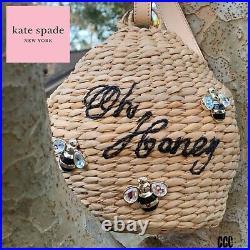 Kate Spade New York Beehive & Bee Oh Honey Straw Wristlet Bag