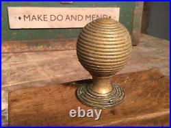Large Antique Brass Beehive Door Handle. Heavy Brass Victorian Front Door Knob