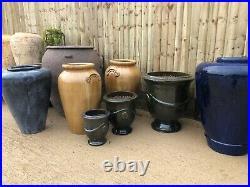Large Terracotta olive jar Glazed ceramic ribbed pot Beehive pot