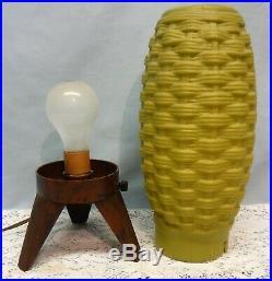 Mid Century Modern Atomic Woven Beehive Lamp Olive Green Wood Type Tripod Legs