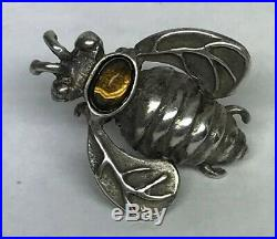 Mignon Faget 925 Sterling Silver Hive Collection Citrine Bee Cuff Lapel Pin