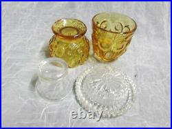 Moon and Stars Fenton LG Wright AMBER Beehive Fairy Courting Candle Lamp Light