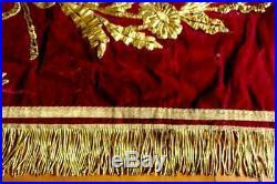 Museum Class Belgian 1884 Red Silk Velvet Assoc Panel Elevated Goldwork Beehive