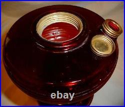 Nice Vintage ALADDIN Ruby Red BEE HIVE Kerosene Oil Lamp Base Only