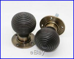PACK OF SEVEN SETS Brass wood ebonised antique effect beehive door knob sets