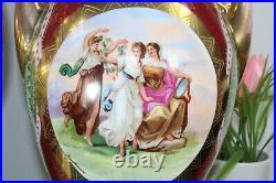 PAIR vienna marked Beehive porcelain Romantic Vases cherub lady