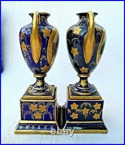 Pair Of Antique Royal Vienna Pedestal Vases Signed Kauffmann Beehive Mark Vvgc