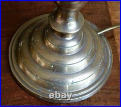Pair vintage brass table lamps beehive candlestick style 23