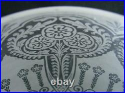 Pretty Art Nouveau Fully Etched, Fluted Glass Beehive Oil Lamp Shade 4 Fitter
