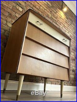 RETRO MID CENTURY 1950s Oak Veneer chest of drawers BEE HIVE design Stunning