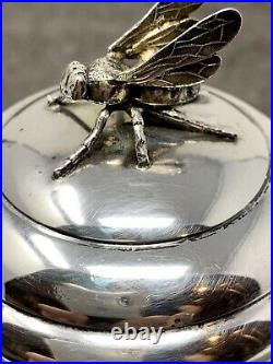 R Blackinton & Co Sterling Silver Beehive Honey Pot Figural Bee Jar with Spoon