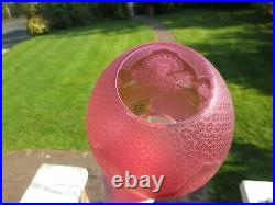 Rare Antique Victorian Crystal Etched Cranberry Duplex Beehive Oil Lamp Shade