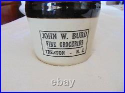 Rare Red Wing Beehive Crock Jug John W. Burd Fine Groceries Trenton New Jersey