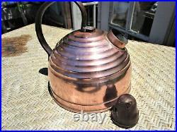 Rare-Vintage Rome Revere Ware Bee Hive Copper Tea Pot Kettle withBird Whistle
