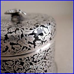 Rockwell Silver Overlay Honey Jar Black Glass Sterling Honeybee Beehive Pot Vtg