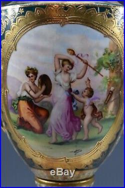 Royal Vienna Porcelain Pedestal Urn Vase No Lid Beehive Mark Austria Signed