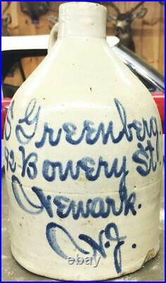 S. GREENBERG stoneware script jug Newark NJ N. J. New Jersey 1/2 gallon ESSEX