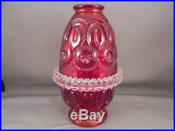 Scarce Fenton L G Wright Ruby Red Moon & Stars Fairy Lamp Bee Hive Style 4-Pc