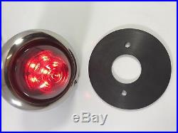 Set 4 Glass Beehive Universal Round LED Tail Light Stainless Bezel Baby Bullet