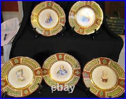 Set 5 Blue Beehive Mark Vienna Porcelain Portrait Cabinet Plates Versailles