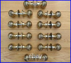 Set Of 10 Pairs Solid Brass Door Knobs Period Style Beehive
