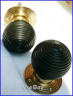 Seven Pair Brass Wood Beehive Door Knob Handle Black Hard Wood Ebonized Mortice