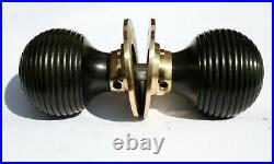 Six Pair Brass Beehive Door Knob Handle Black Hard Rosewood Ebonized Mortice